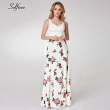 Simple White Floral Printed Maxi Dress Women A-Line O-Neck Sleeveless Elegant Ladies Dress Beach Style Streetwear Ropa Mujer