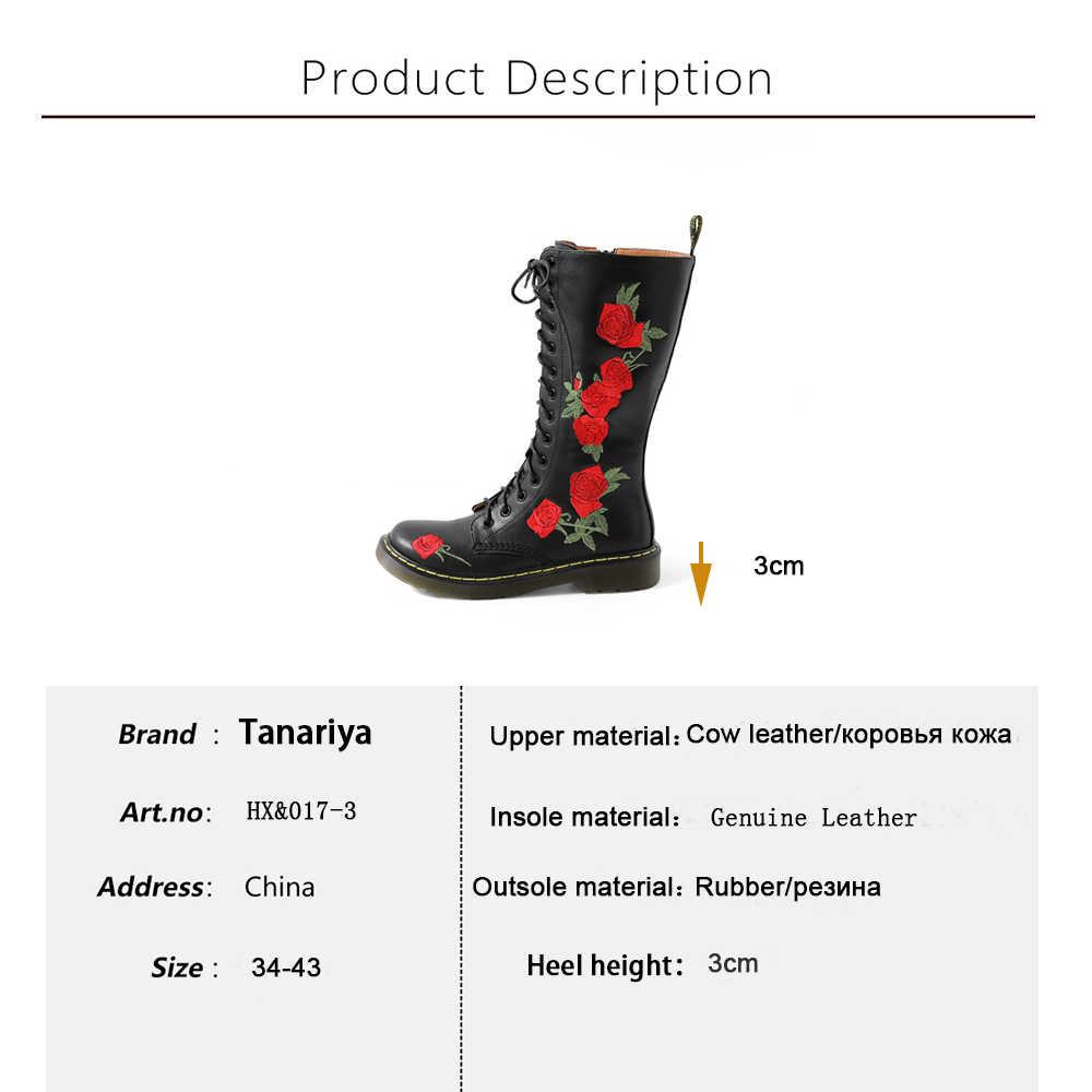 Tanariya وصول جديد أحذية امرأة أحذية النساء الخريف/الشتاء 2020 الدانتيل متابعة منصة جلد البقر الأحذية