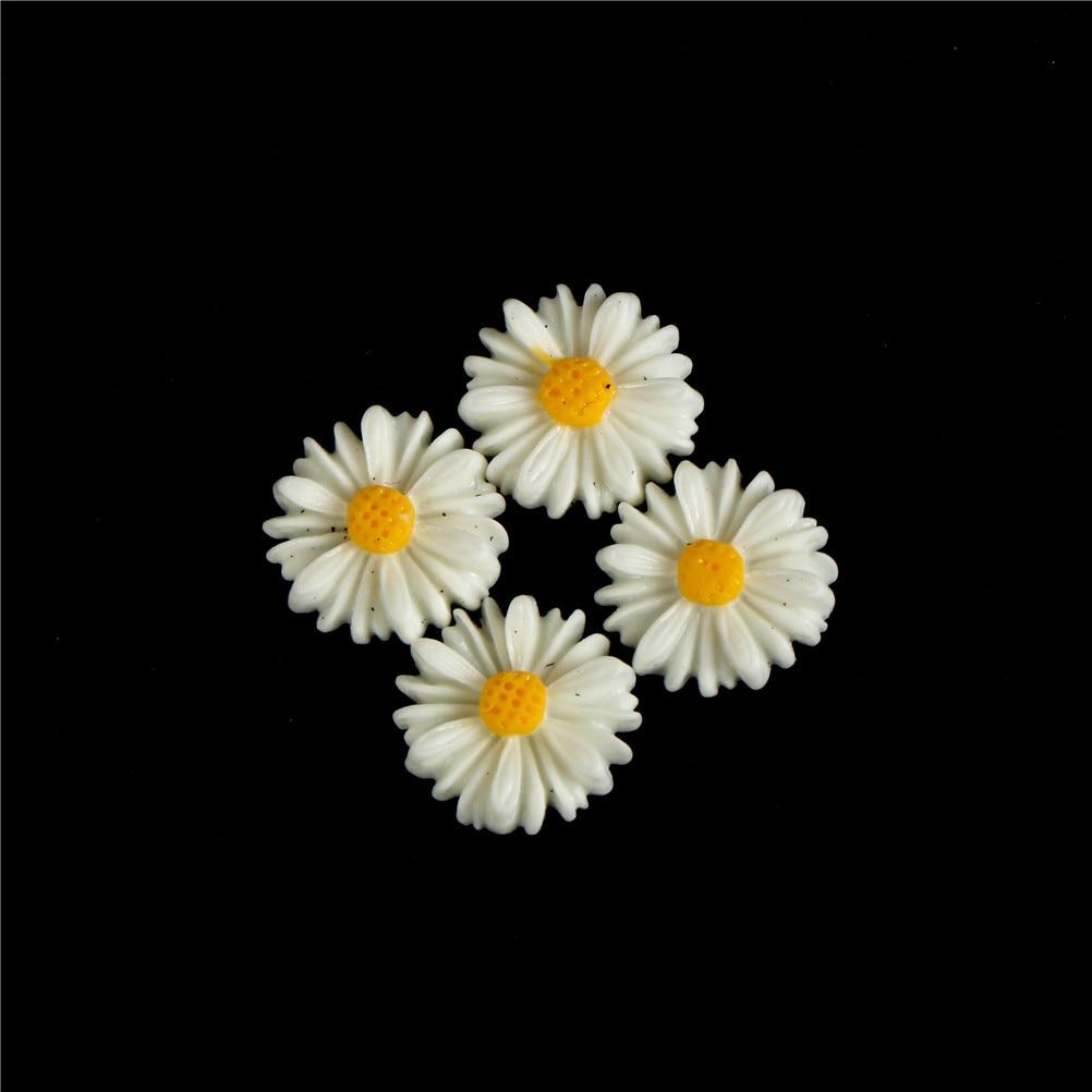 50PCS Daisy Flower Flatback Resin Cabochons Scrapbook Craft 10mm DIY Embellishments Phone Decor Headwear Accessories
