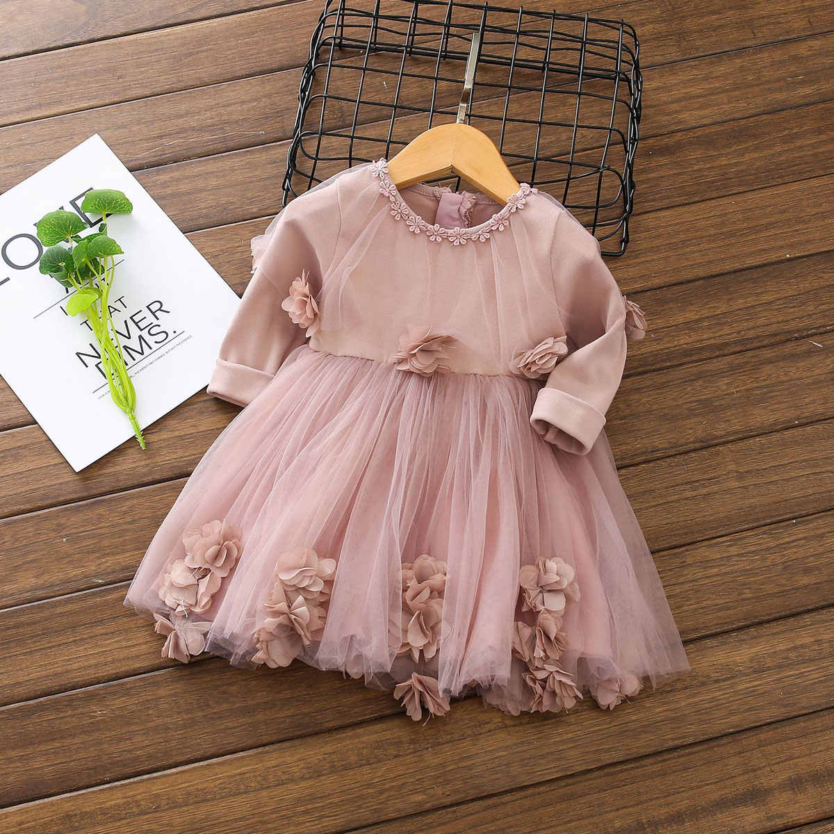 0-4Years Newborn Baby Toddler Kid Girls Dress Long Sleeve Lace Flower Tutu Party Birthday Dresses For Girl Baby Costumes Autumn