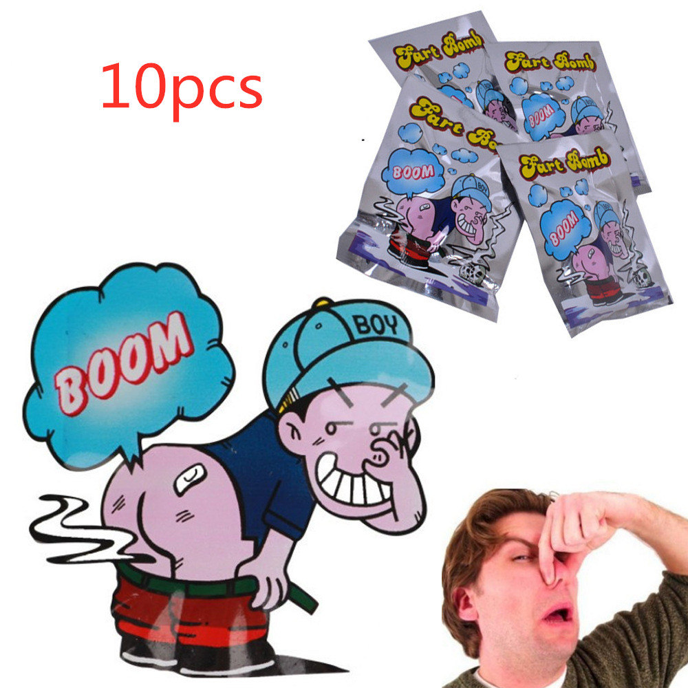 10pcs/Set Funny Fart Bomb Bags Stink Bomb Smelly Funny Gags Practical Jokes Fool Toy April Fool's Day Tricky Toys