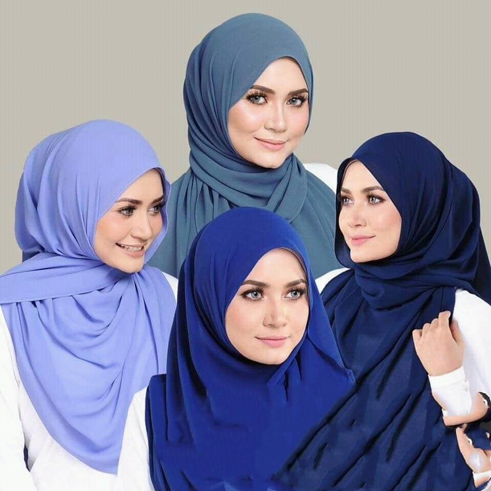 Fashion Plain Bubble Chiffon Scarf Women's Hijab Wrap Solid Color Shawls Headband Muslim Hijabs Headscarf