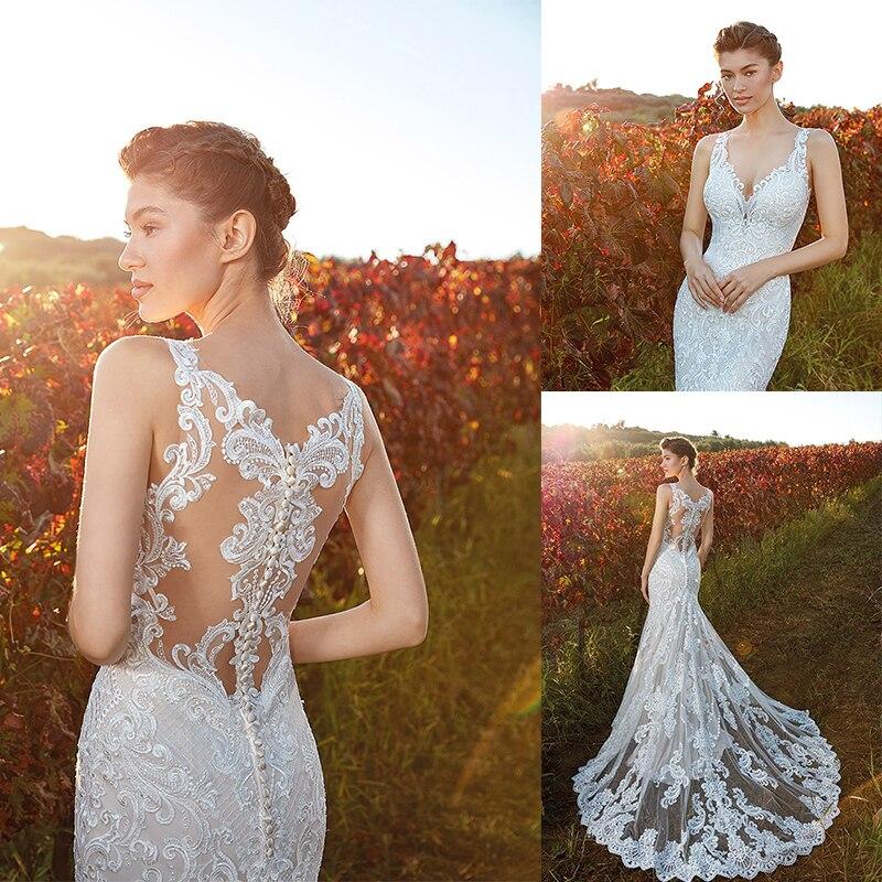 Mermaid Wedding Dresses 2020 V Neck Full Lace Appliques Bridal Gowns Button Back Sweep Train Wedding Dress Robes De Mariée