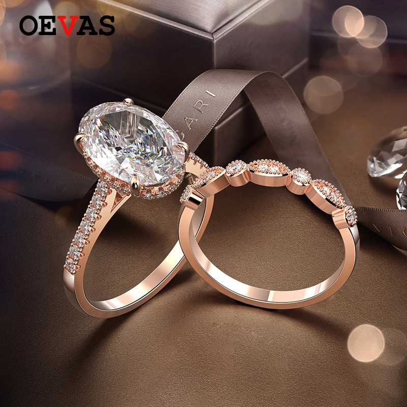 OEVAS 100% 925 Sterling Silver Oval Created Moissanite Gemstone Wedding Engagement Diamonds Ring Sets Fine Jewelry Wholesale