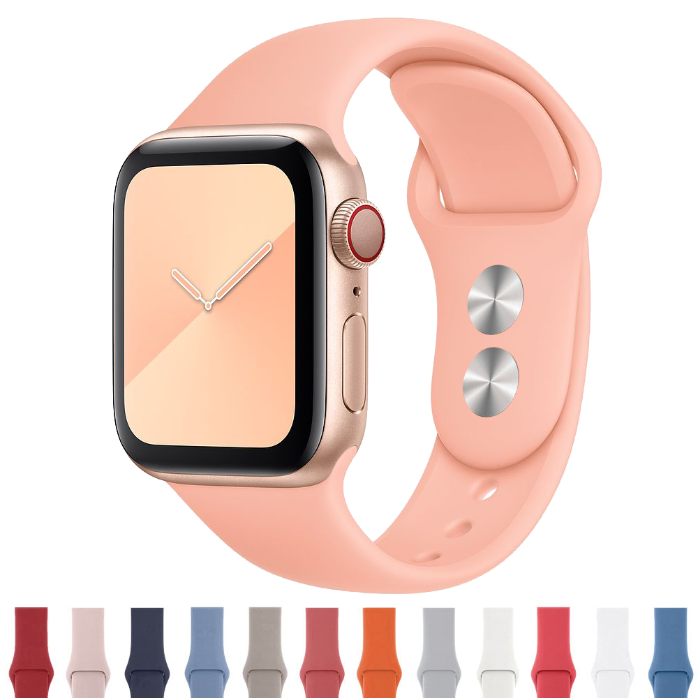 Silicone Strap For Apple Watch Band 44 Mm/40mm Iwatch Band 38mm 42mm Sport Bracelet Rubber Watchband For Apple Watch 5 4 3 2 1