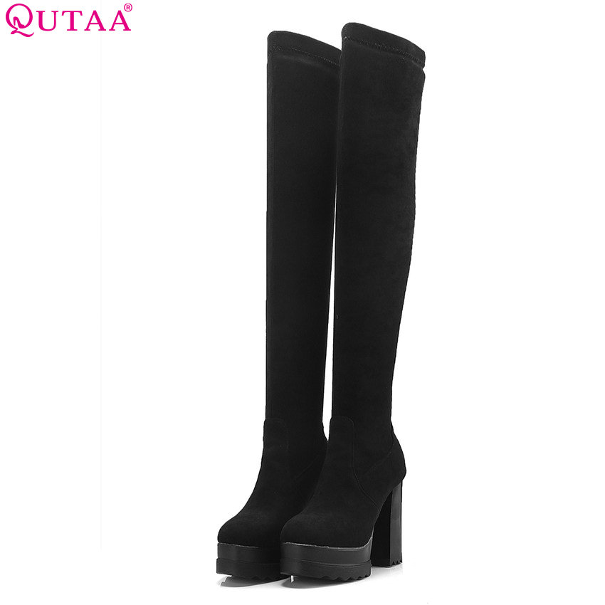 QUTAA 2020 Women Over The Knee High Boots Platform Square Highheel Winter Boots High Quality Shoes Women Boots Big Size 34-42