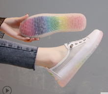 Jelly rainbow bottom small white shoes womens 2020 new summer breathable canvas mesh single women
