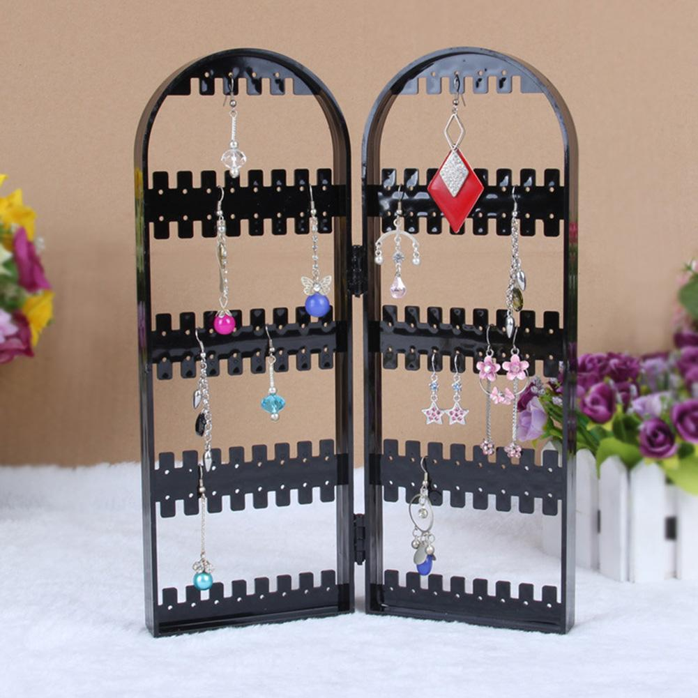 120 Holes Folding Plastic Jewelry Racks Earrings Holder Bracelet Necklace Display Stand Jewelry Storage Racks Jewelry Organizer