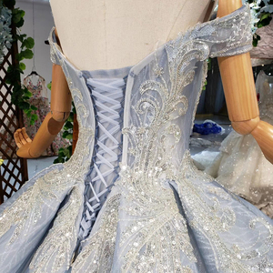 Image 5 - BGW 2020 סקסי V צוואר כבוי כתף Teired כדור שמלת אורגנזה מוסלמי פורמליות ערב שמלות תחרה עד בחזרה חרוזים קריסטל נשים שמלה