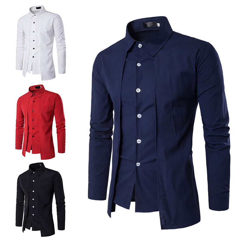 2020 Men Spring Autumn Long Sleeve Casual Shirt Button Down Slit Fit Formal Business Wedding Party Dress Shirt