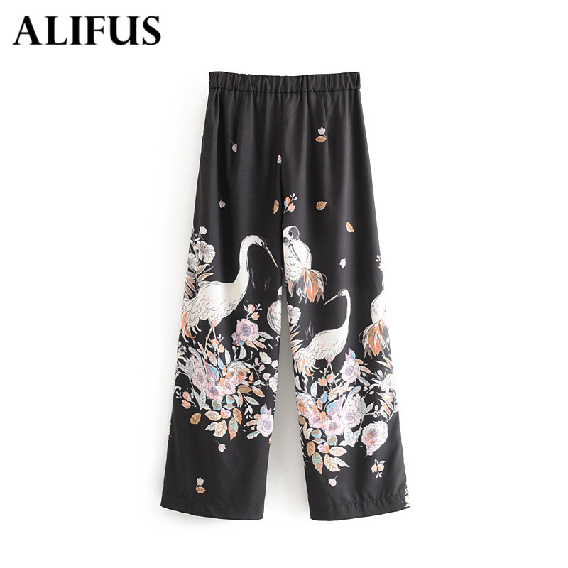 Wide     Leg     Pants   Floral Print Women Elastic Waist Trousers Pleated Loose Casual Elegant Womens Chinese Style Chic   Pants