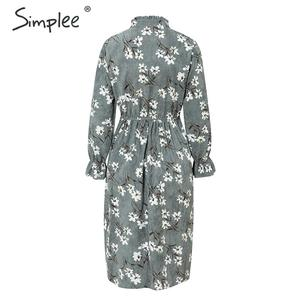 Image 5 - Simplee Corduroy plus size dress High waist ruffled floral print women dress Casual a line ladies chic autumn office dress 2019