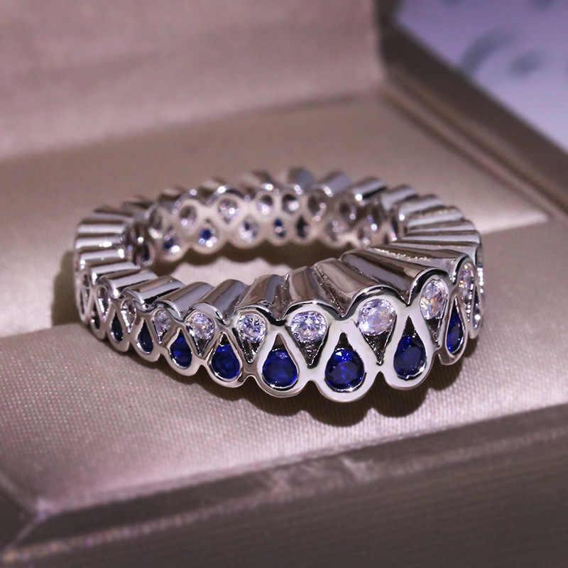 Unique Style Feminino Rodada Zircão Azul Anel de Cristal Do Vintage 925 Prata Amor Anel de Noivado Anéis de Casamento de Moda Para As Mulheres