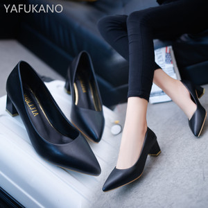 Square Heel High Heels Fashion Women Pumps Pointed Toe Work Shoes Slip On High Heels Spring Footwear Woman Shoes 5 Cm