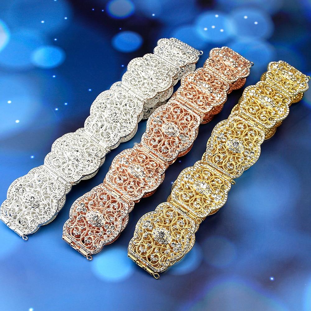 Sunspicems Elegant Moroccan Caftan Belt for Women Wedding Dress Jewelry Hollow Metal Buckle Link Chain Full Crystal Bride Gift