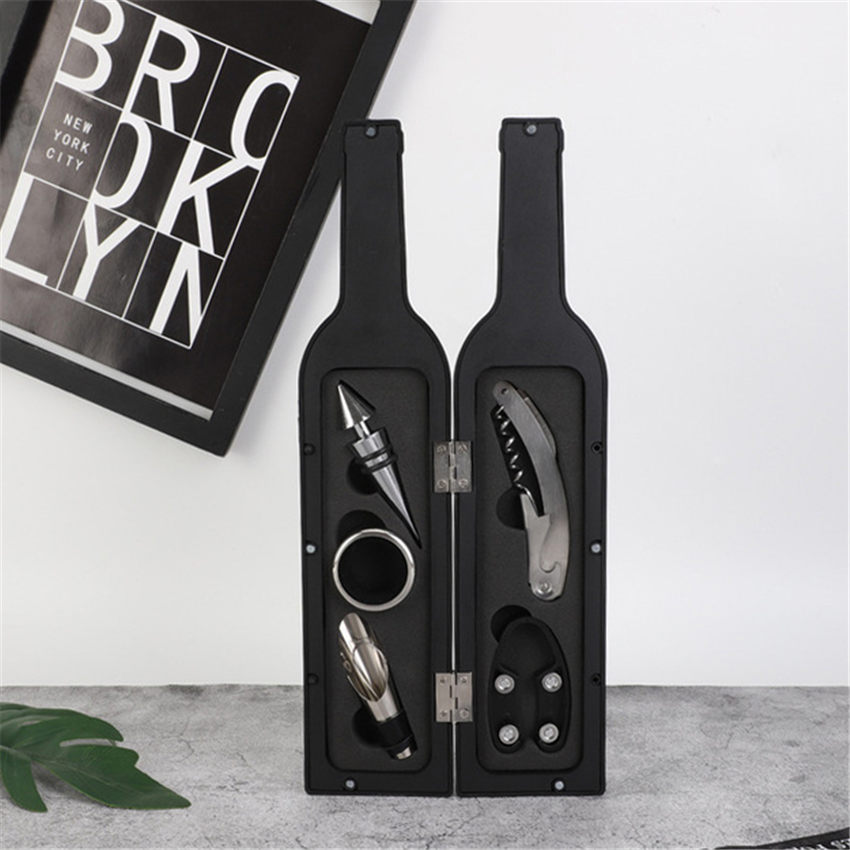 5pcs/set Creative Wine Opener Accessories Gift Tools Set With Waiters Corkscrew Opener Wine Bottle Opening Kit Party Gifts