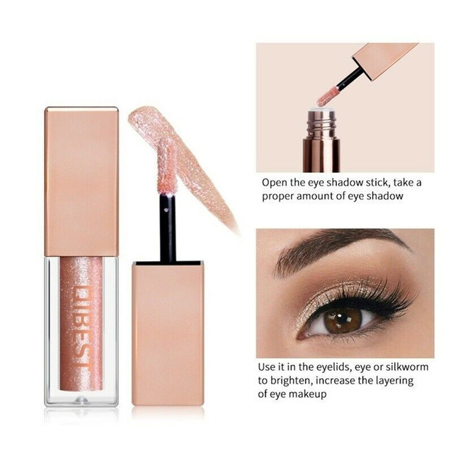 QiBest 15 Colors Glitter Liquid Eyeshadow Waterproof Lasting Shimmer Metallic Easy To Makeup Professional Eye Shimmer Eyeshadow 3
