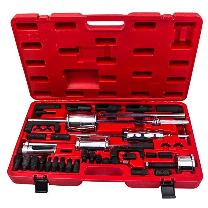 40pcs Universal Diesel Injector Extractor Remover Slide Hammer Puller Common Rail For Stubborn Bosch Denso Siemens Delphi