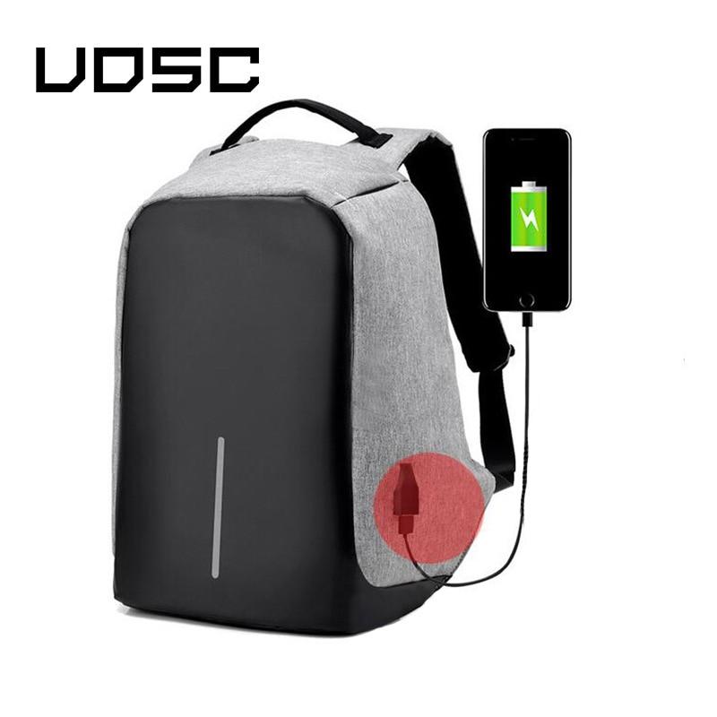 UOSC USB Charging Backpack 15 Inch Travel Backpack Multi Function Anti Theft Waterproof Mochila School Bag For Men PC Backpacks