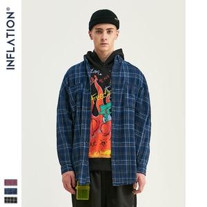 Image 4 - INFLATION Autumn Men Checked Shirt Long Sleeve Oversized Men Plaid Shirt Streetwear Mens Fashion Loose Fit Cotton Shirt  004W17