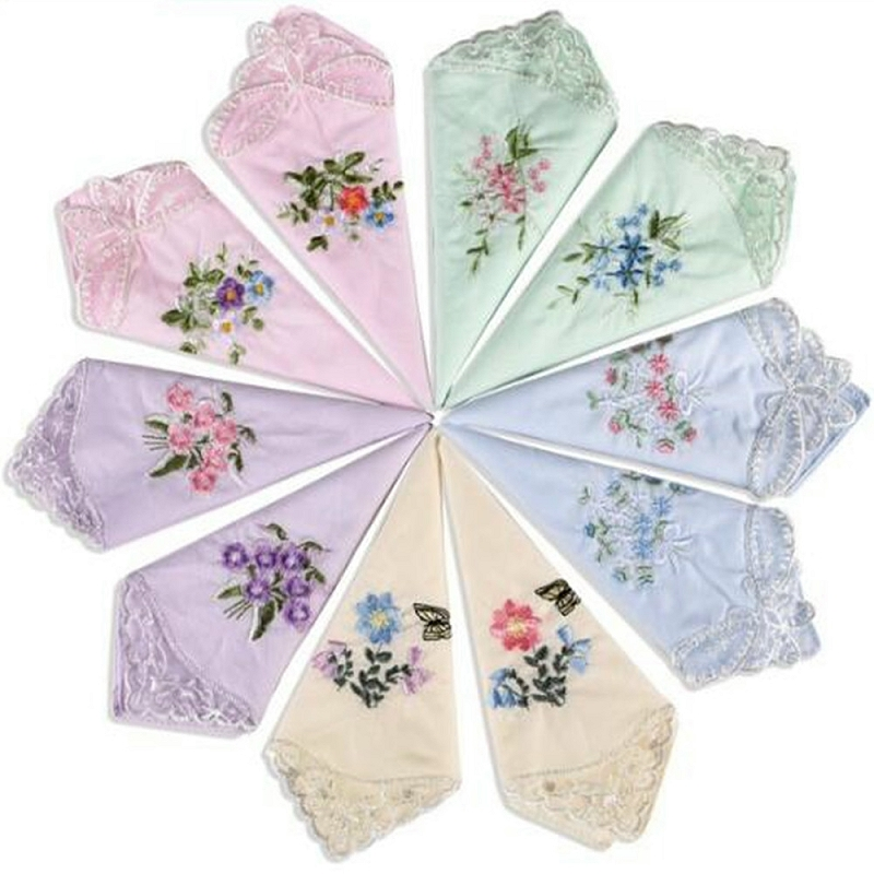 12pcs Random Color Womens Ladies Embroidered Lace Hankies Butterfly Hankerchiefs HYZ9180