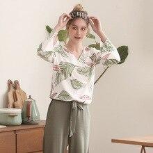 פיג מה סט לנשים אביב ובסתיו ארוך שרוולים חולצות עם מכנסיים פיג מות סטי עלים הדפסת בית חליפת פיג מה עבור נשים