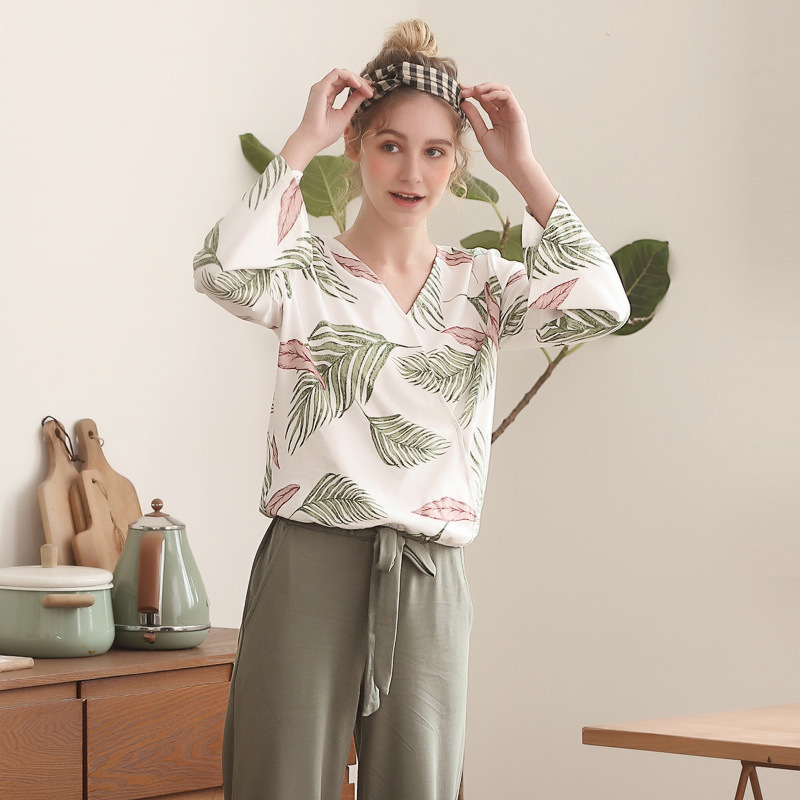 Pajamas Set for Women Spring and Autumn Long sleeved Tops with Trousers Pijamas Sets Leaves Printing Home Suit Pajamas for WomenPajama Sets   -