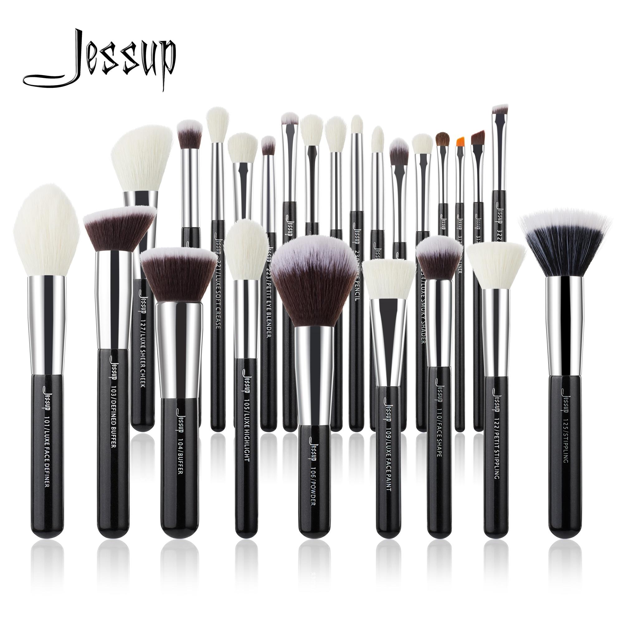 Jessup Makeup brushes set Black/Silver Professional with Natural Hair Foundation Powder Eyeshadow Make up Brush Blush 6pcs 25pcs Eye Shadow Applicator  - AliExpress