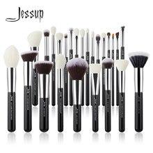 Jessup czarny/srebrny zestaw pędzli do makijażu profesjonalny z naturalne włosy fundacja Powder Eyeshadow pędzel do makijażu Blush 6 sztuk-25 sztuk