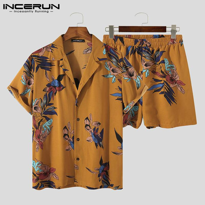 Casual Men Sets Printed Breathable Lapel Short Sleeve Shirts Shorts Streetwear 2021 Summer Beach Men Hawaiian Suits 5XL INCERUN