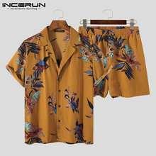 Casual zestawy dla mężczyzn drukowane oddychające klapy koszule z krótkim rękawem szorty Streetwear 2021 Summer Beach mężczyźni hawajskie garnitury 5XL INCERUN