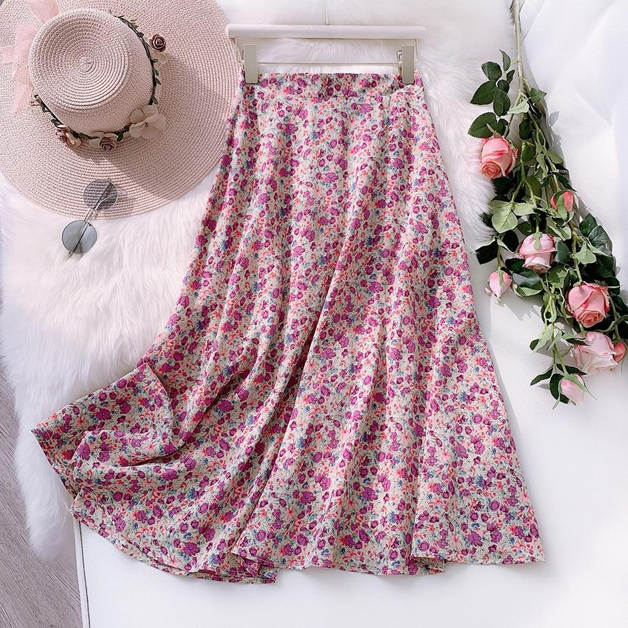 2020 Summer Flower Print Women Boho Skirt High Waist A-Line Long Skirt Casual Faldas Jupe Femme Saia Women Chiffon Skirt