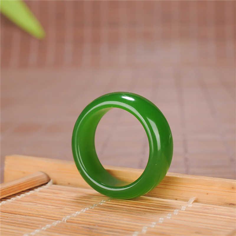 中国の緑のヒスイのリング 8-10 チャームジュエリーファッションアクセサリー手彫り男性女性幸運お守りギフト P101