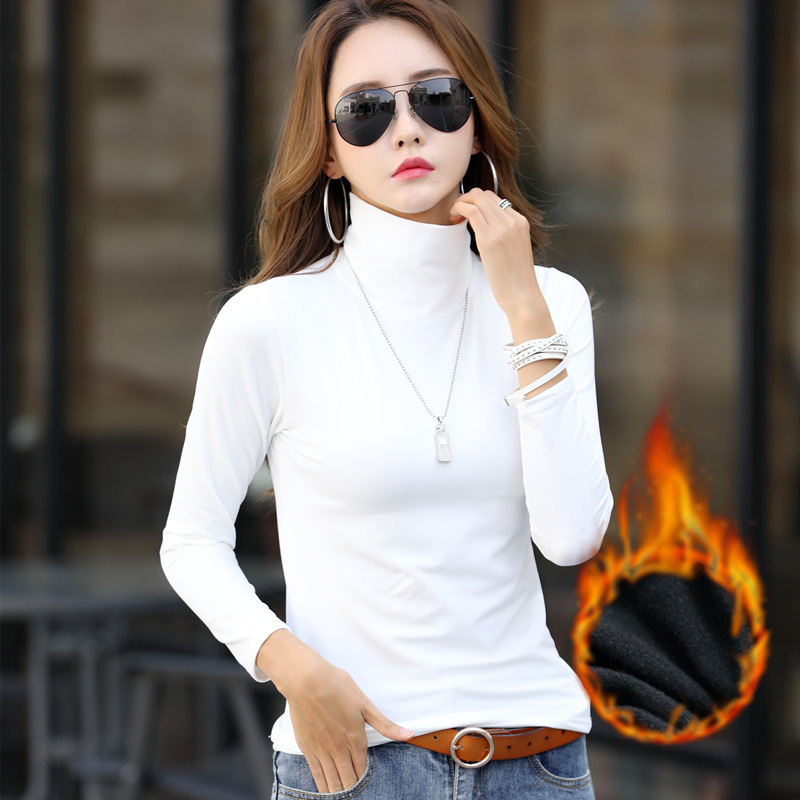 TOPPICK New Autumn Sweater  Solid Color  Long Sleeve Turtleneck Sweater Women Pullover Sweater Padded  Velvet Warm Top Plus Size