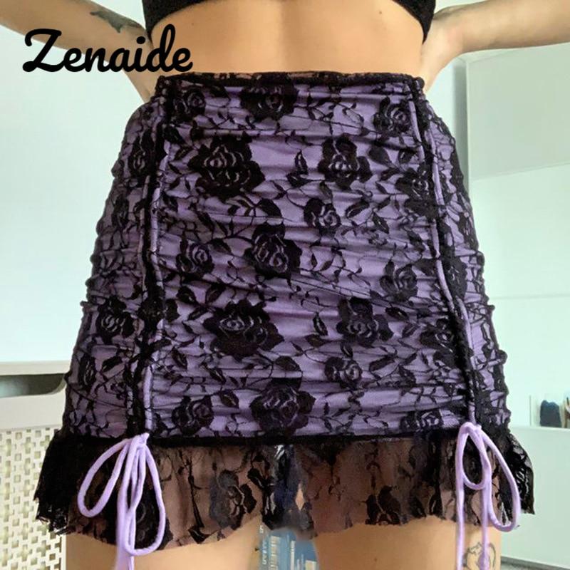 Zenaide цветочный черная короткая юбка с кружевом Y2K) комплект модной одежды на шнурке с высокой талией и рюшами Короткие e для девочек женские ю...