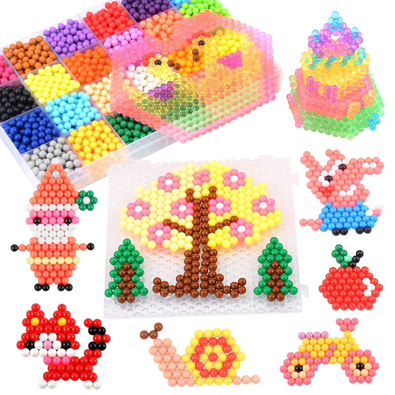 4800PCS DIY Water Spray Magic Beads Kit Animal Molds Hand Making 3D Beads Puzzle Ball Games Early Educational Toys For Children