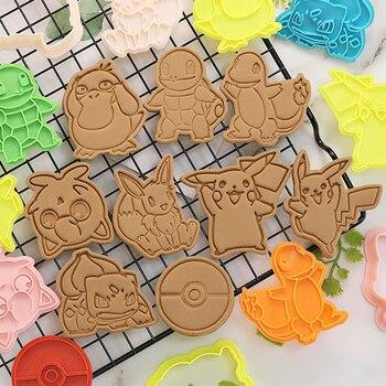 Pokemon Cookie Cutters 3d Cartoon pikachued Skull Mold Plastic Pressing Fun Baking Unicorn Mould Prop