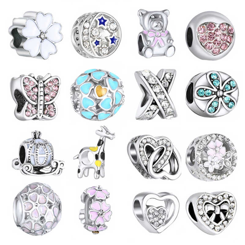 YINHED Authentic 925 Sterling Silver Crystal Heart&Cute Bear&Flower Charm Beads Fit Bracelet Pendant DIY Beads Jewelry ZB042