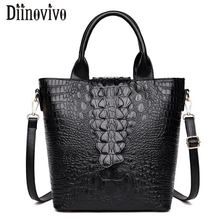 DIINOVIVO Luxury Brand Bag Women Leather Handbags Alligator Tote Female Shoulder Crossbody Zipper Bags WHDV1228