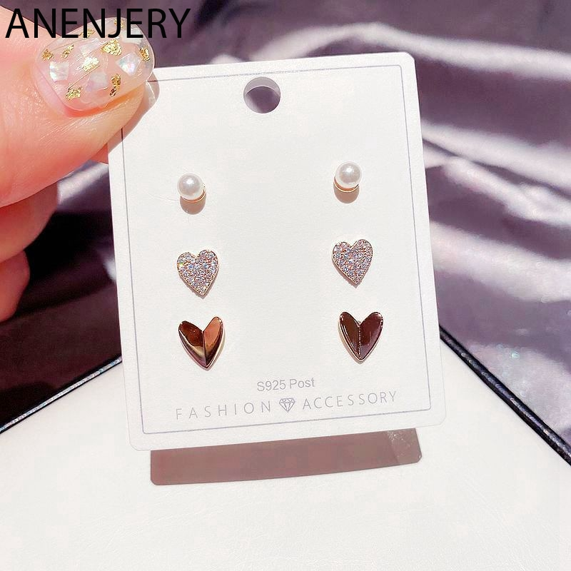 ANENJERY Dainty Liebe Herz Stud Ohrringe Set für Frauen Rose Gold Farbe Perle Ohrring Set Schmuck Geschenke Großhandel 6-stück S-E1236