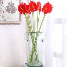 5/10 cabeça 32cm flores artificiais antúrio planta falso flor varanda escritório decoração de mesa casamento decoração para casa plantas verdes