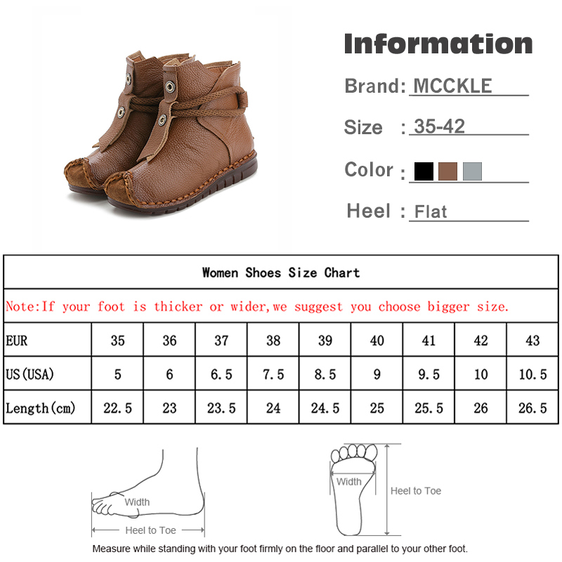 Image 5 - MCCKLE Women Genuine Leather Ankle Boots Flats Pleated Ladies Zip Plush Warm Winter Shoes Female Fashion Sewing Retro Short Boot-in Ankle Boots from Shoes