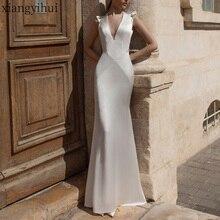Сексуальные вечерние атласные платья с глубоким v-образным вырезом, белое длинное шелковое облегающее платье без рукавов, посылка, длинные платья в стиле «Русалка», одежда макси