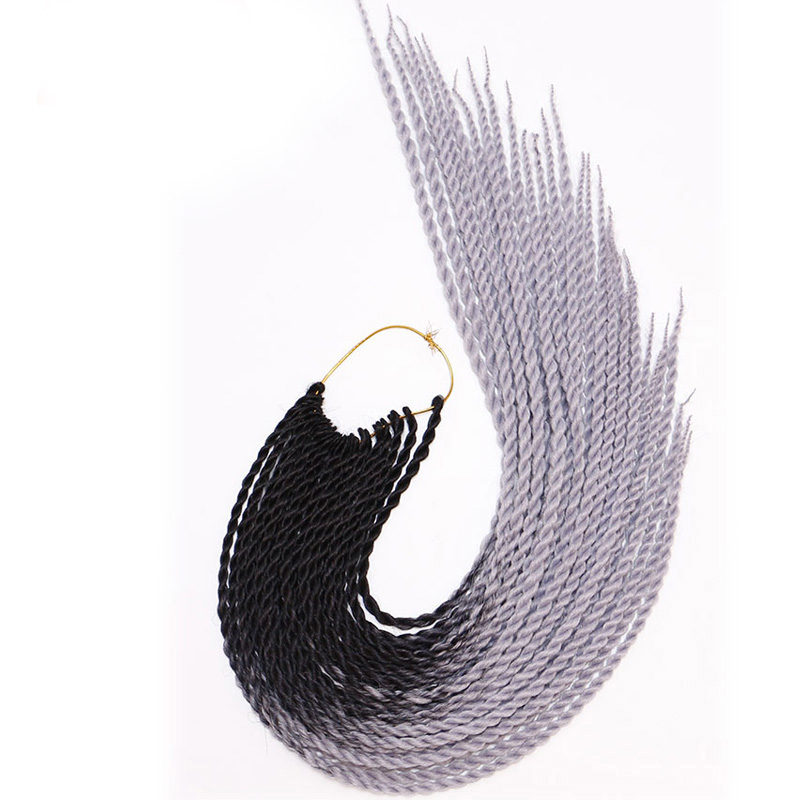 MERISIHAIR Ombre Senegalese Twist Hair Crochet Braids 24 Inch 30 Roots/pack Synthetic Braiding Hair For Women Grey,blue,pink,bro