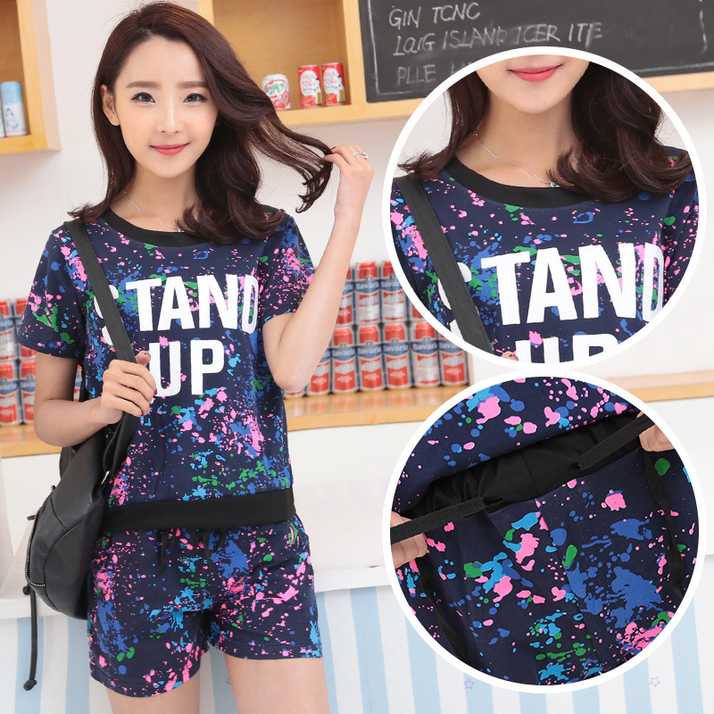 8553 # Photo Shoot Shorts WOMEN'S Suit Lettered Ink T-shirt Two-Piece Set Paint Printed Leisure Suit