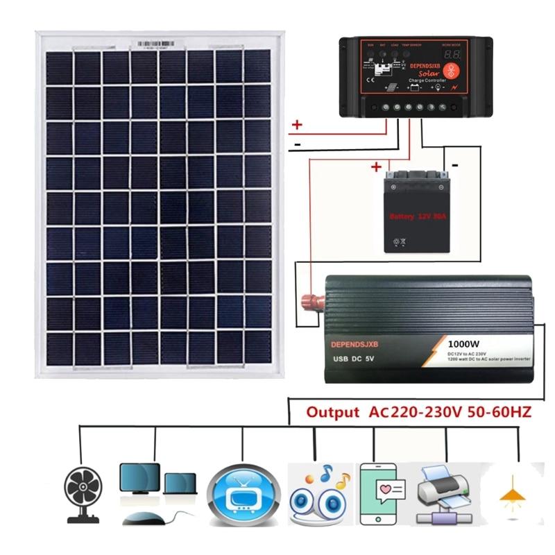 18V 20W солнечная панель система питания + 12V / 24V цифровой контроллер + 1000W инвертор 35ED