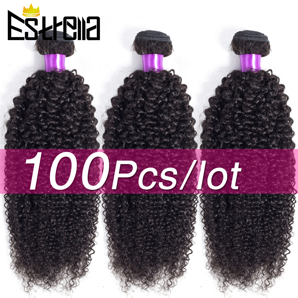 100PCS Human <font><b>Hair</b></font> Bundles Kinky Curly Bundle Deals Brazilian <font><b>Hair</b></font> Weave Bundles Remy <font><b>Hair</b></font> Extension 100g For Each Natural Color image