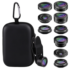 9 in 1 Universal Phone Camera Lens Kit Set with Fisheye Wide angle Teleconverter Macro Star Filter CPL Kaleidoscope Lens