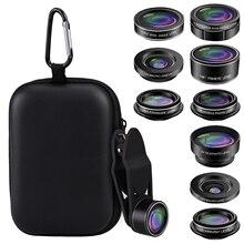 Kit dobjectif de caméra de téléphone universel 9 en 1 avec téléconvertisseur grand angle Fisheye filtre étoile Macro objectif kaléidoscope CPL