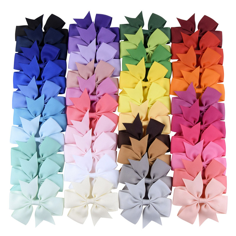 Solid Grosgrain Ribbon Bows Hairpin Girl's Hair Bows Boutique Hair Clip Handmade Bowknot Clip Kids Baby Girl Hair Accessories